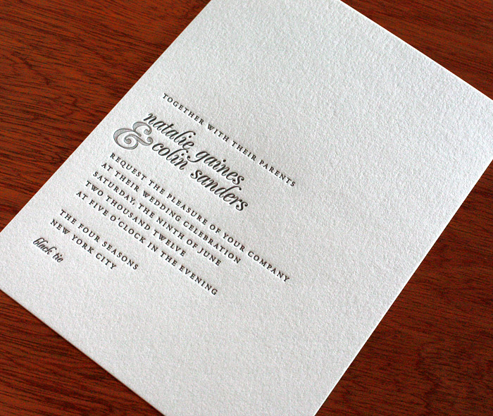 Bold Modern Letterpress Wedding Invitation On 100% Cotton Eco Friendly Paper