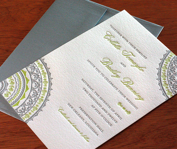 This exquisite letterpress Indian wedding card has a unique appeal that is