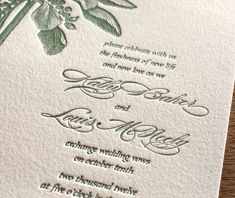 Oasis Letterpress Wedding Invitation Wording