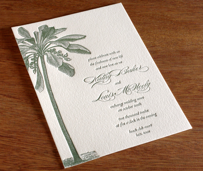 Destination Tropical Wedding Invitation In Green Letterpess