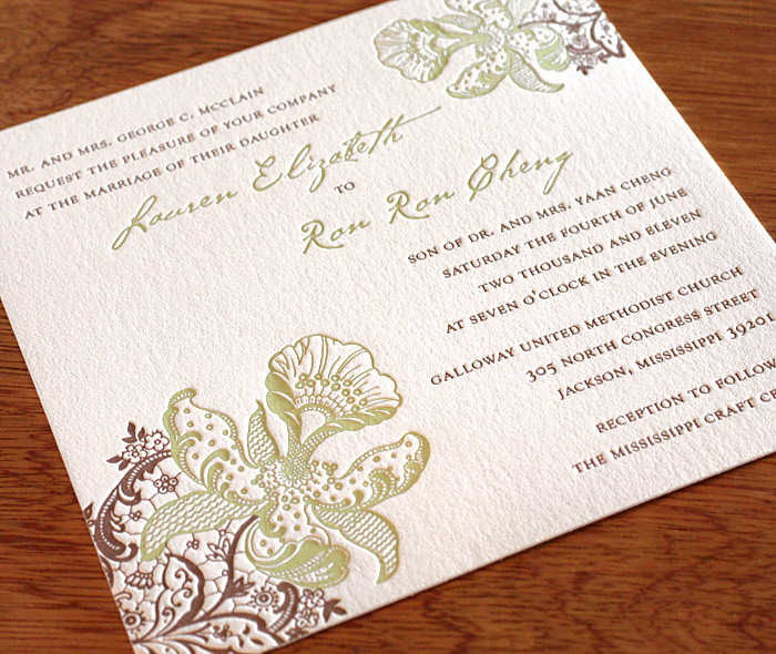 Feminine Square Spring Wedding Invitation With Delicate Green U0026 Brown Orchid