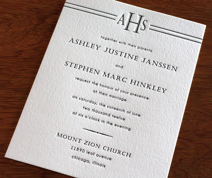 Monogram Letterpress Wedding Invitation