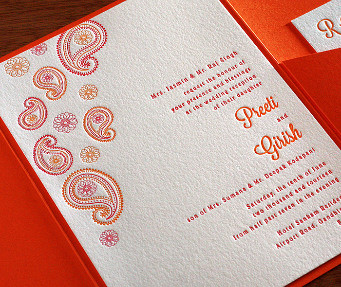 Modern Indian Letterpress Wedding Invitation Gallery Preeti