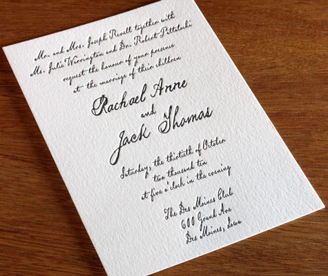 wedding invitation wording divorced parents letterpress wedding