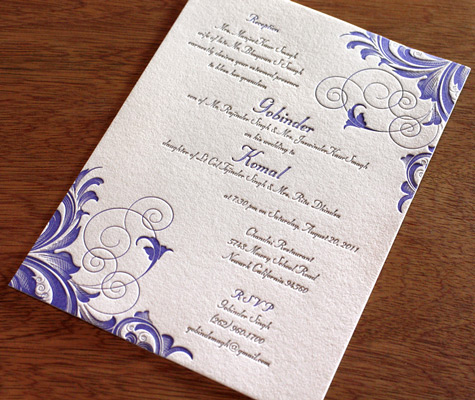 Rana Indian Letterpress Wedding Card Wording