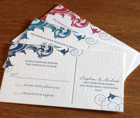Rana letterpress Indian RSVP card