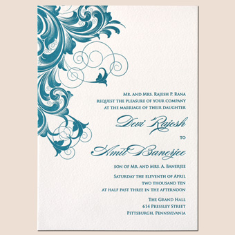 new south asian and indian letterpress wedding invitation design