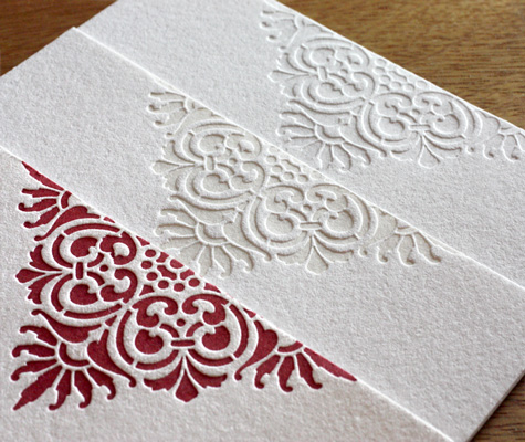 Letterpress Wedding Invitations with Blind Impression Photo