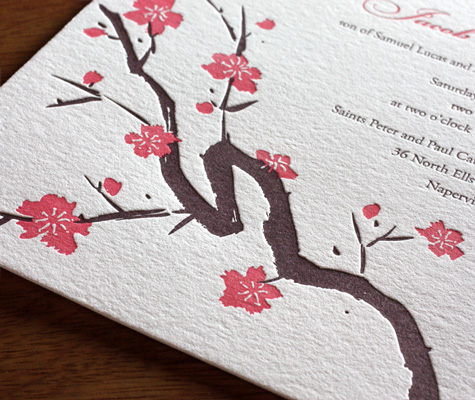 Japanese Cherry Blossom Wedding Invitation<br>  Invitations by Ajalon's Sakura Design Photo