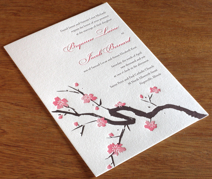 Romantic Pink U0026 Brown Letterpress Wedding Invitation With Delicate Cherry  Blossoms