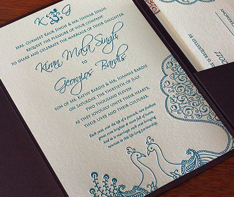 Sarah Indian Peacock Letterpress Wedding Invitation Card Detail