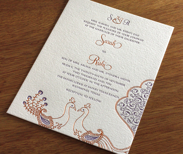 Sarah Indian Letterpress Wedding Invitaiton Card