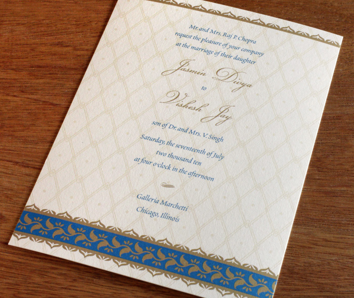 Sari Indian Hindu Letterpress Wedding Invitation Card Design