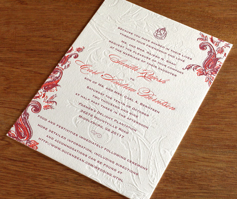Sindhu Indian Letterpress Wedding Invitation Wording