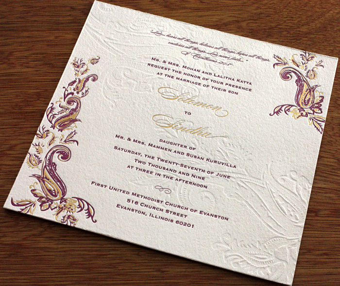 Paisley Indian Letterpress Wedding Card Gallery Sindhu – Wedding Card Invitations