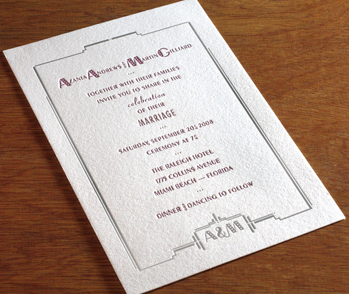 Silver Foil Burgundy Letterpress Urban Art Deco Style Custom Wedding Invitation