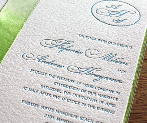 Stephanie Letterpress Wedding Invitation Wording