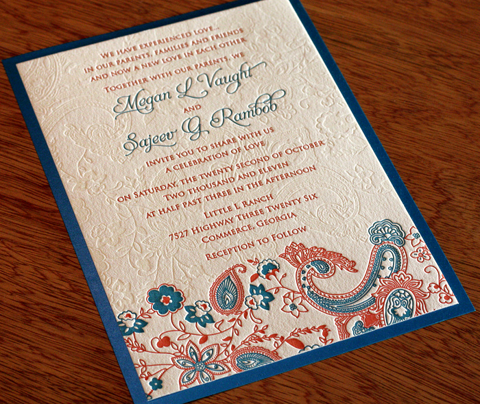 Indian 3 Color Wedding Invitation Mounted On Colored 2nd Paper Layer