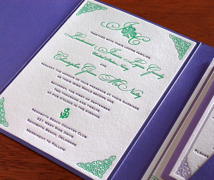 celtic letterpress wedding invitation gallery - teagan,