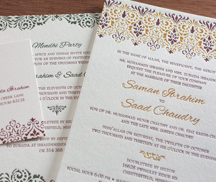 Letterpress And Foil Arabic Hindu Wedding Mehendi Invitation Suite With Elegant Lace Pattern