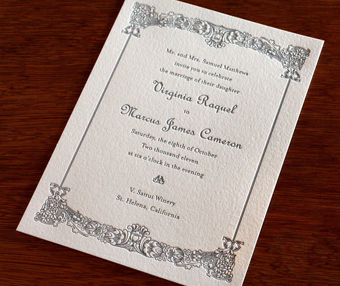 Vintage Elegant Border Letterpress Wedding Invitation Design