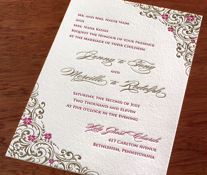 romantic gold pink letterpress wedding invitation with lacy floral