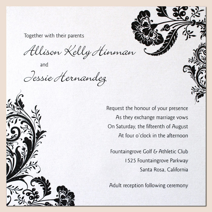 Bilingual Letterpress Wedding Invitation Design Black and White