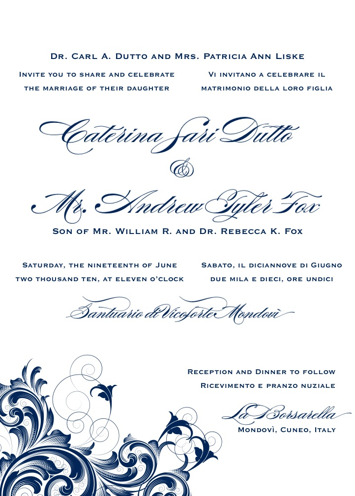 Bilingual Letterpress Wedding Invitation Design Rana 1