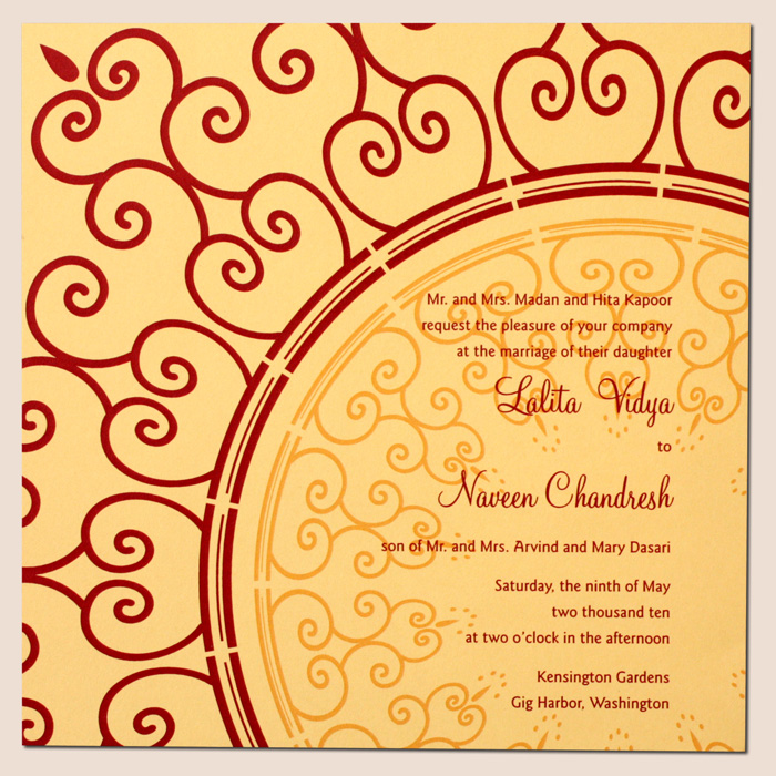 Indian Letterpress Wedding invitaiton with Foil