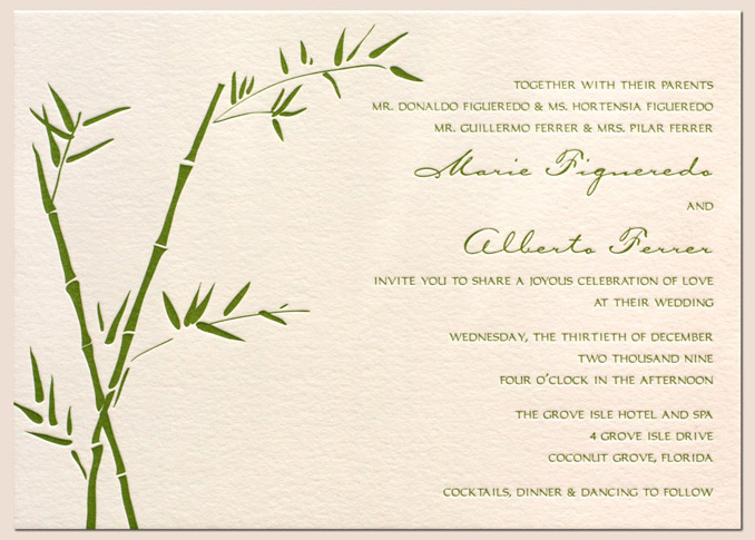 Bamboo Letterpress Wedding Invitation Design Gree