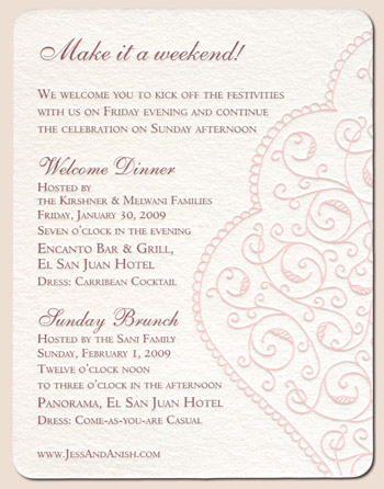 Awesome Schedule Of Events Card For A Wedding Weekend