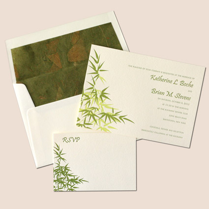 request a free sample of our letterpress serenity invitation set