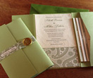pocket folder, invitation suite, letterpress