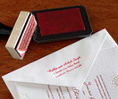rubber stamp, return address, wedding