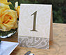 brown & peach tinted digital printed formal event dinner table number