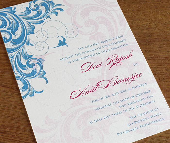 2 Color Digitally Printed Wedding Invitation With Baroque Fl Motif
