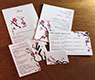 digital printing on japanese cherry blossom themed wedding invitation & additional cards