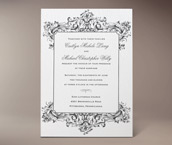 baroque letterpress invitation