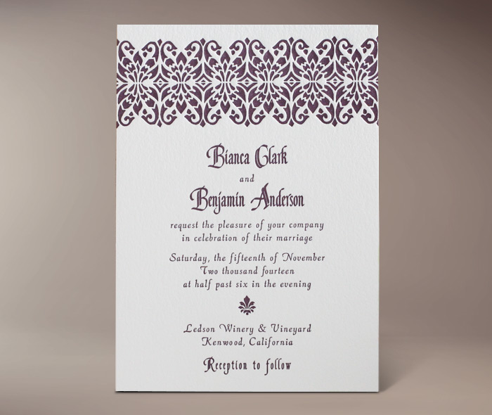 bianca letterpress invitation