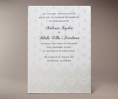 chantilly letterpress invitation