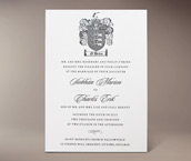 family crest letterpress invitation