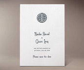 quon letterpress invitation