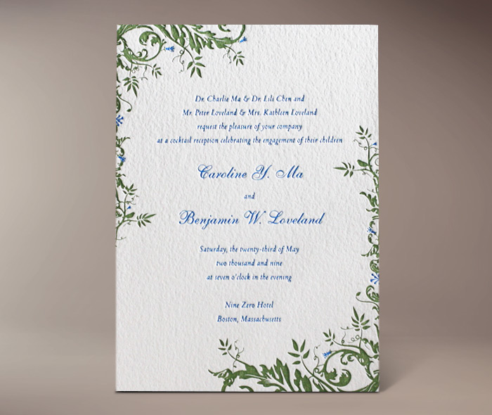 savannah letterpress invitation