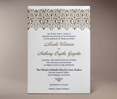 vintage lace letterpress invitation