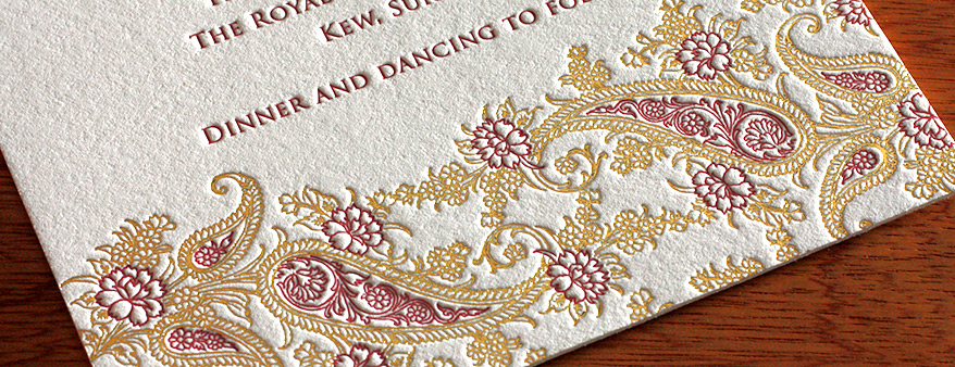 Letterpress Wedding Invitations Indian Wedding Cards Bilingual