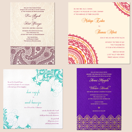 Just search our gallery of Indian letterpress wedding cards and leave a