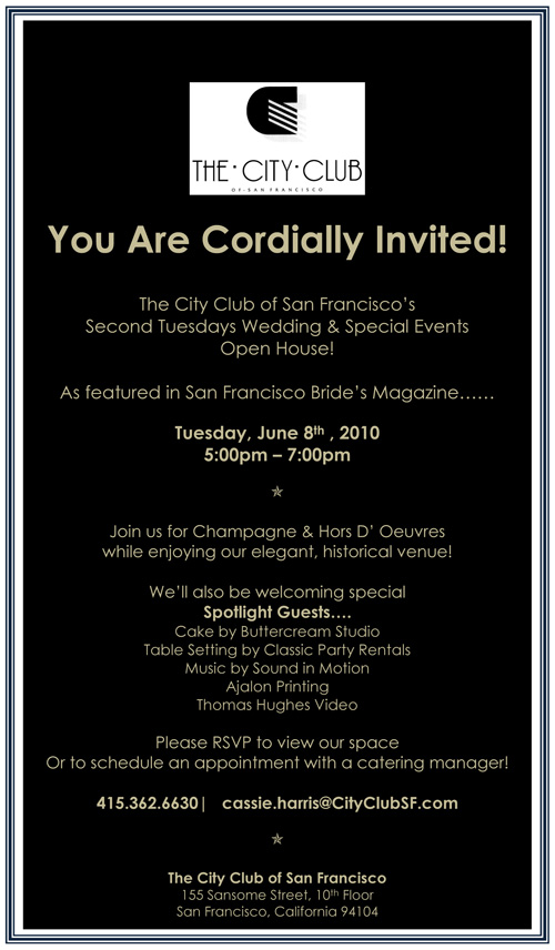 Stop by the City Club of San Francisco on June 8 to check out Invitations by