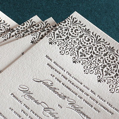 100 Digital Invitation Sets for $350 or 100 Letterpress Invitation sets for $649