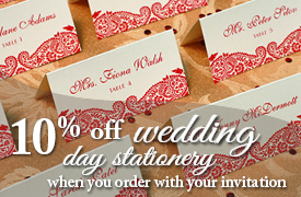 10% off when you order with your wedding invitations
