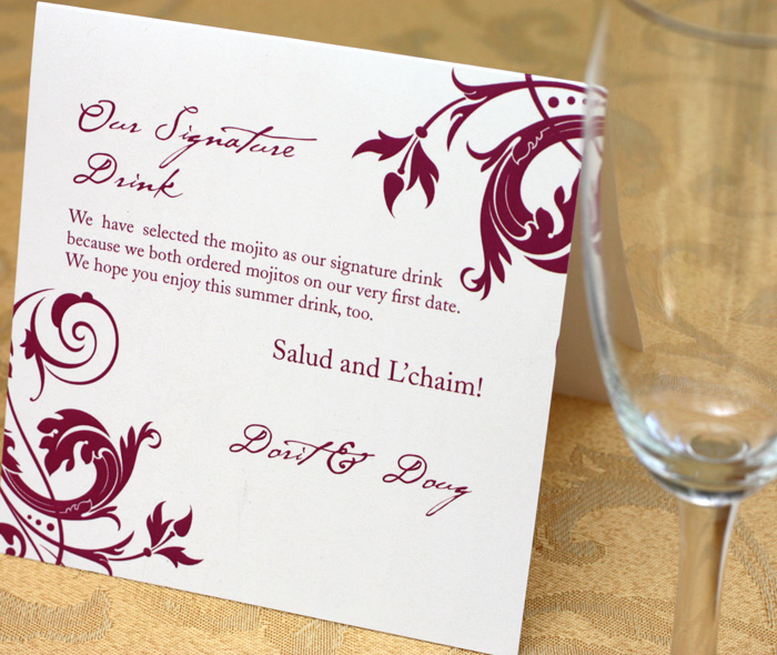 Wedding reception signature drink signs invitations by ajalon junglespirit Gallery